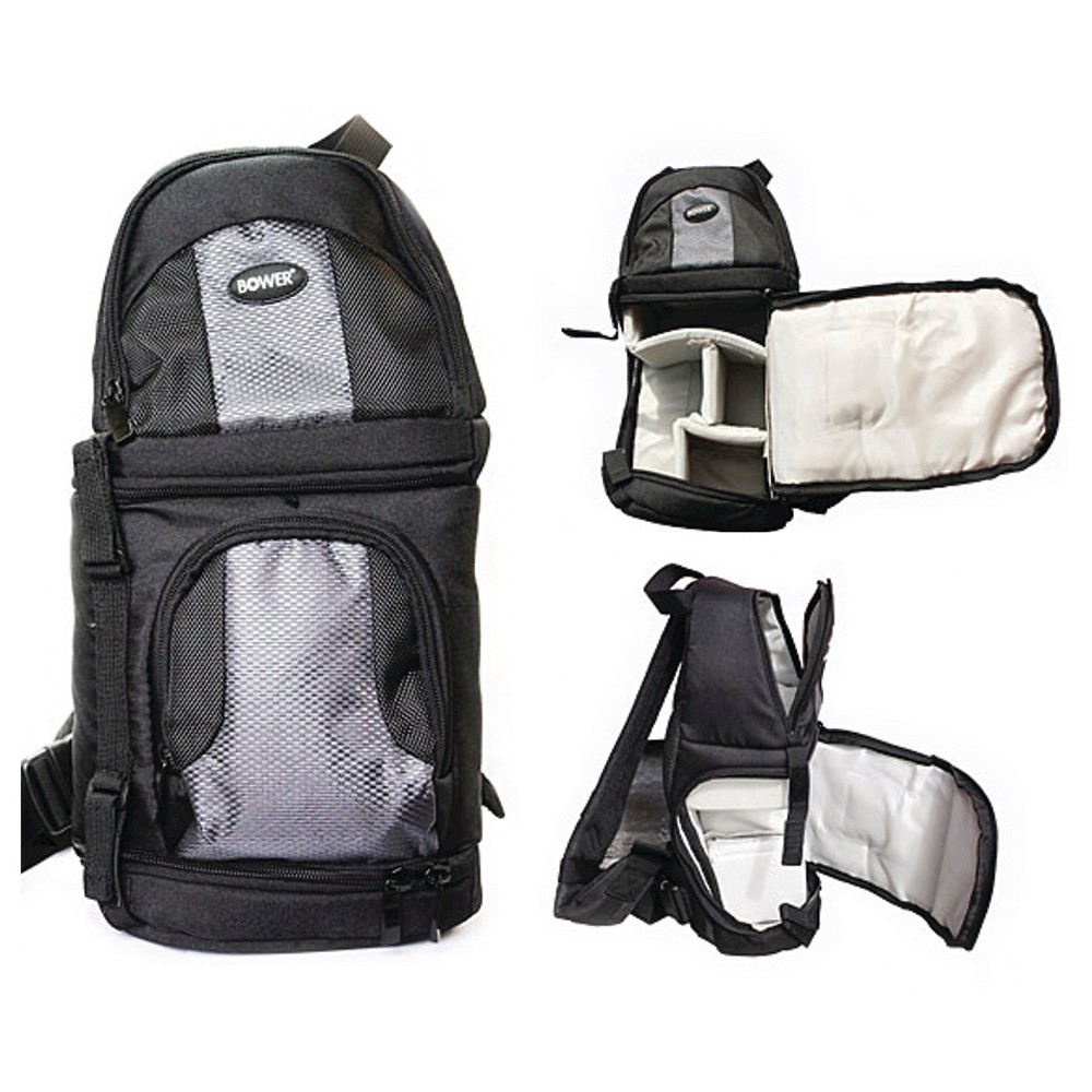 Bower Digital Pro Slr Camera Sling - Black (SCB1450) Get organization and portability in one with the Bower Digital Pro Slr Camera Sling in Black (SCB1450). This camera sling bag backpack has different zippered compartment for the camera and all its gear.