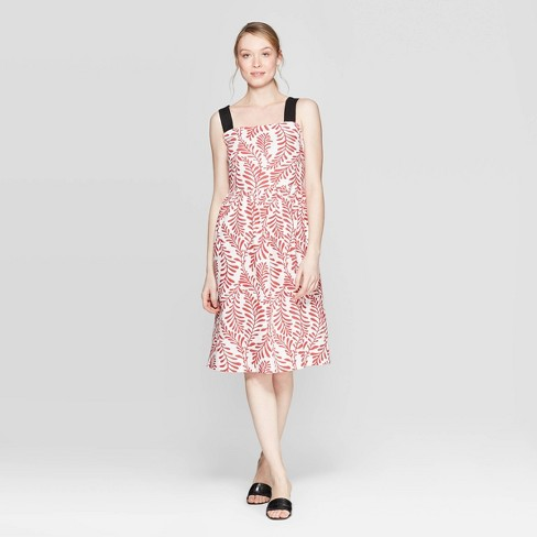 Women's Leaf Print Contrast Strap Midi A Line Dress - Who What Wear™ Red/White - image 1 of 3