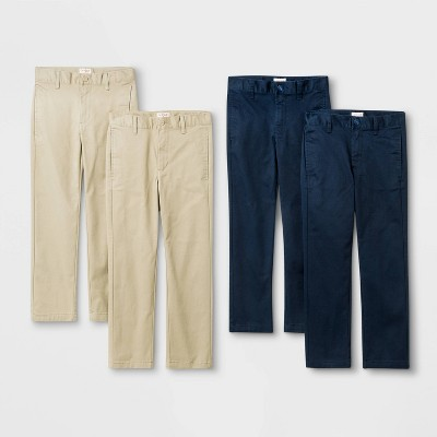 Boys' 4pk Flat Front Stretch Uniform Straight Fit Pants - Cat & Jack™ Khaki/Navy