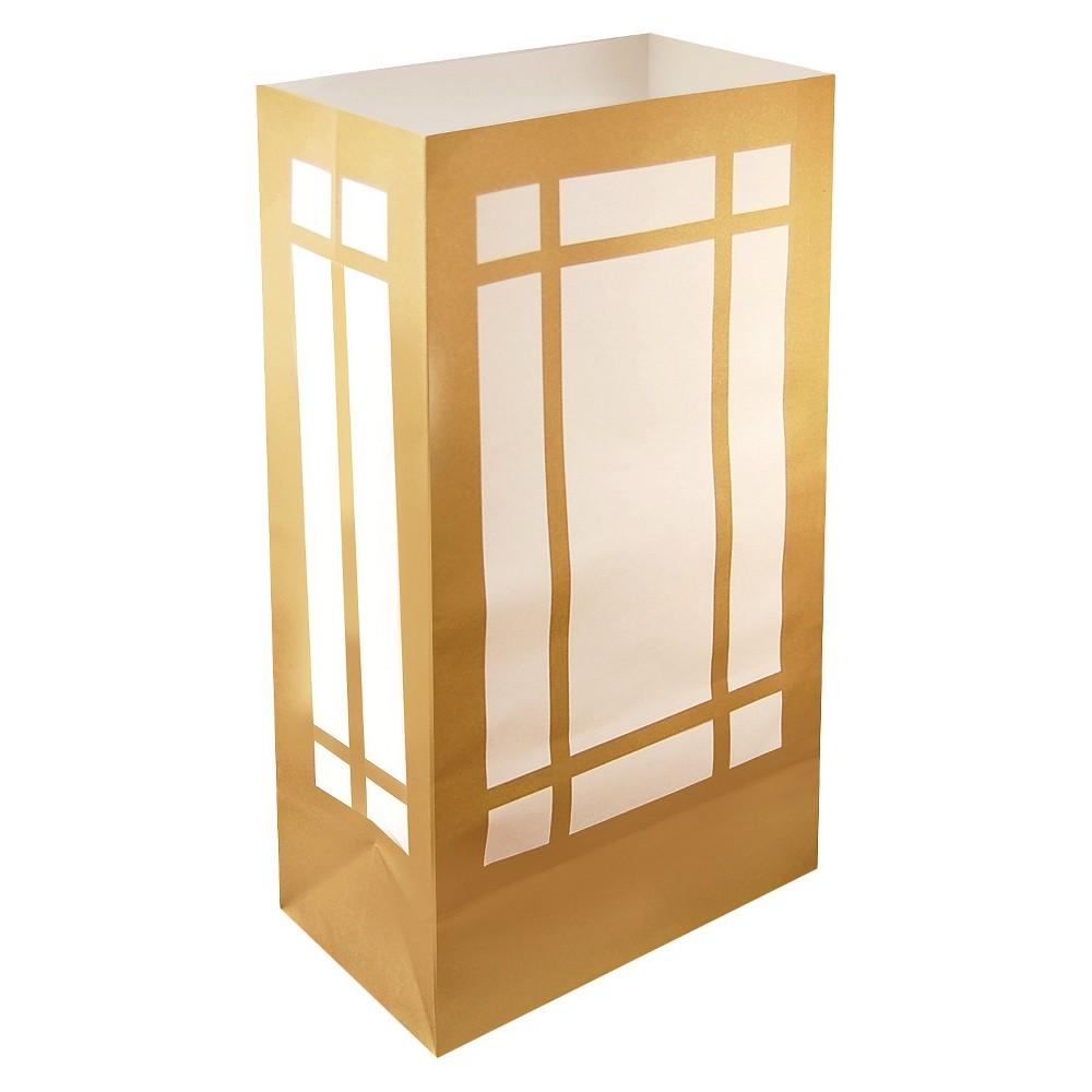 12ct Lumabase Gold Lantern Flame Resistant Luminaria Bags