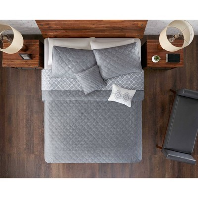 Gray Cole Stitched Chambray Reversible Quilt Set (King)5pc - JLA Home
