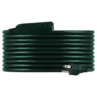 Philips 25' 3-Outlet Grounded Extension Cord Outdoor Green
