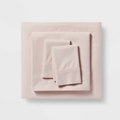 Queen 300 Thread Count Organic Cotton Solid Sheet Set Petal Pink - Threshold™