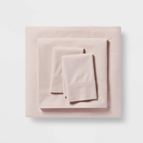 California King 300 Thread Count Organic Cotton Solid Sheet Set Petal Pink Threshold Target
