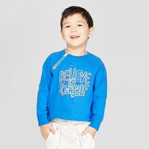 Toddler Boys' French Terry Raglan Sweatshirt - Cat & Jack™ Blue 5T - image 1 of 3