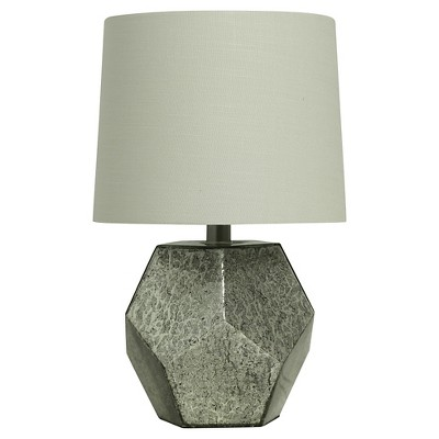 Mercury Glass Geometric Shaped Accent Lamp Silver Includes Energy Efficient Light Bulb - Threshold™