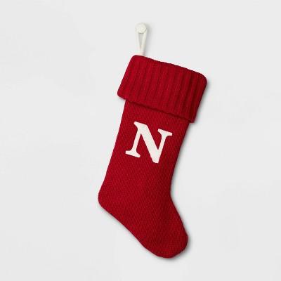 Knit Monogram Christmas Stocking Red N - Wondershop™