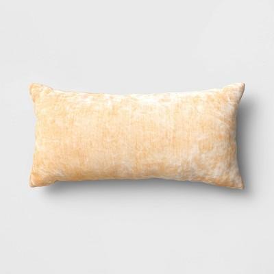 Oversized Velvet Lumbar Throw Pillow Yellow - Threshold™