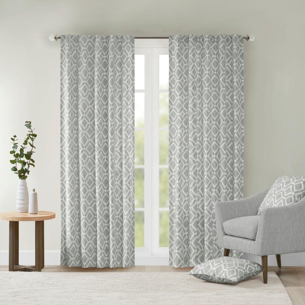 95 34 X42 34 Natalie Global Fretwork Room Darkening Window Curtain Panel Gray