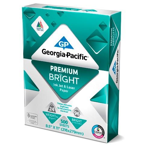 georgia pacific printer paper letter size 24lb premium bright 500ct