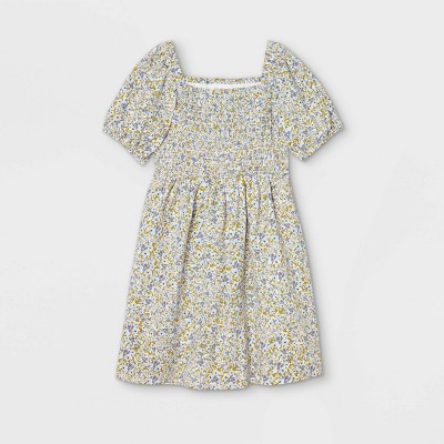 Girls' Smocked Woven Puff Sleeve Dress - Cat & Jack™ Blue