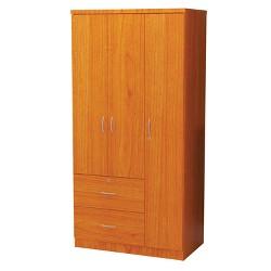 3 Door Wardrobe Wood Maple - Home Source Industries
