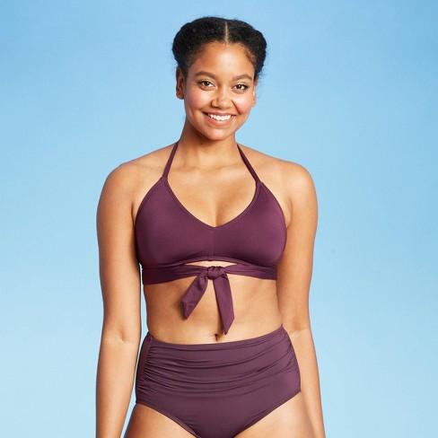 Women's Tie-Front Bikini Top - Kona Sol™ Atlantic Burgundy - image 1 of 4
