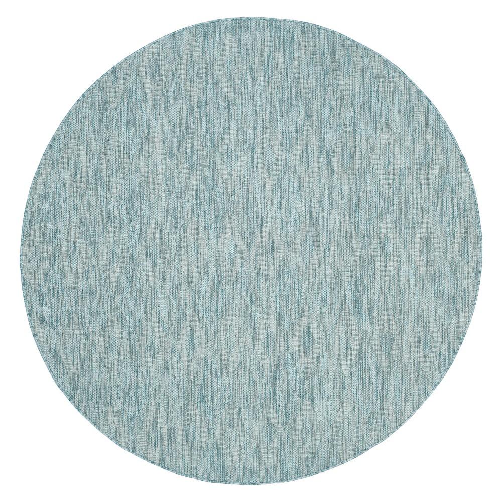 Bolton Round 6'7 Outdoor Rug - Aqua / Aqua - Safavieh, Blue