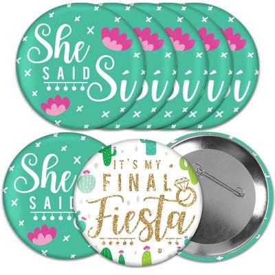 Big Dot of Happiness Final Fiesta - 3 inch Last Fiesta Bachelorette Party Badge - Pinback Buttons - Set of 8