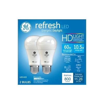 General Electric 2pk 60W Ca Refresh LED Light Bulb Long Life Dimming