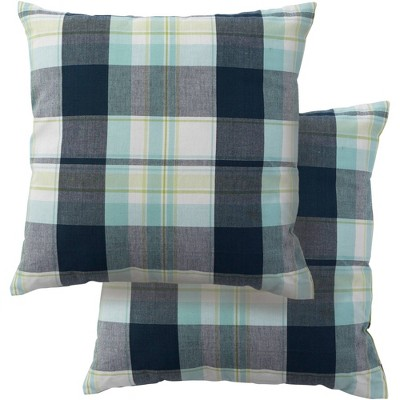 "2pk 18""x18"" Lake Plaid Square Throw Pillow Covers - Design Imports"