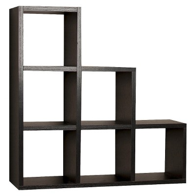 19  x 5  Stepped Six Cube Wall Shelf Black - Danya B.
