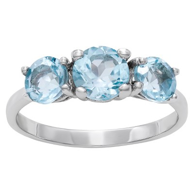 1.76 CT. T.W. 3 Topaz Amethyst Stone Sky Blue Ring In Sterling Silver - (7)