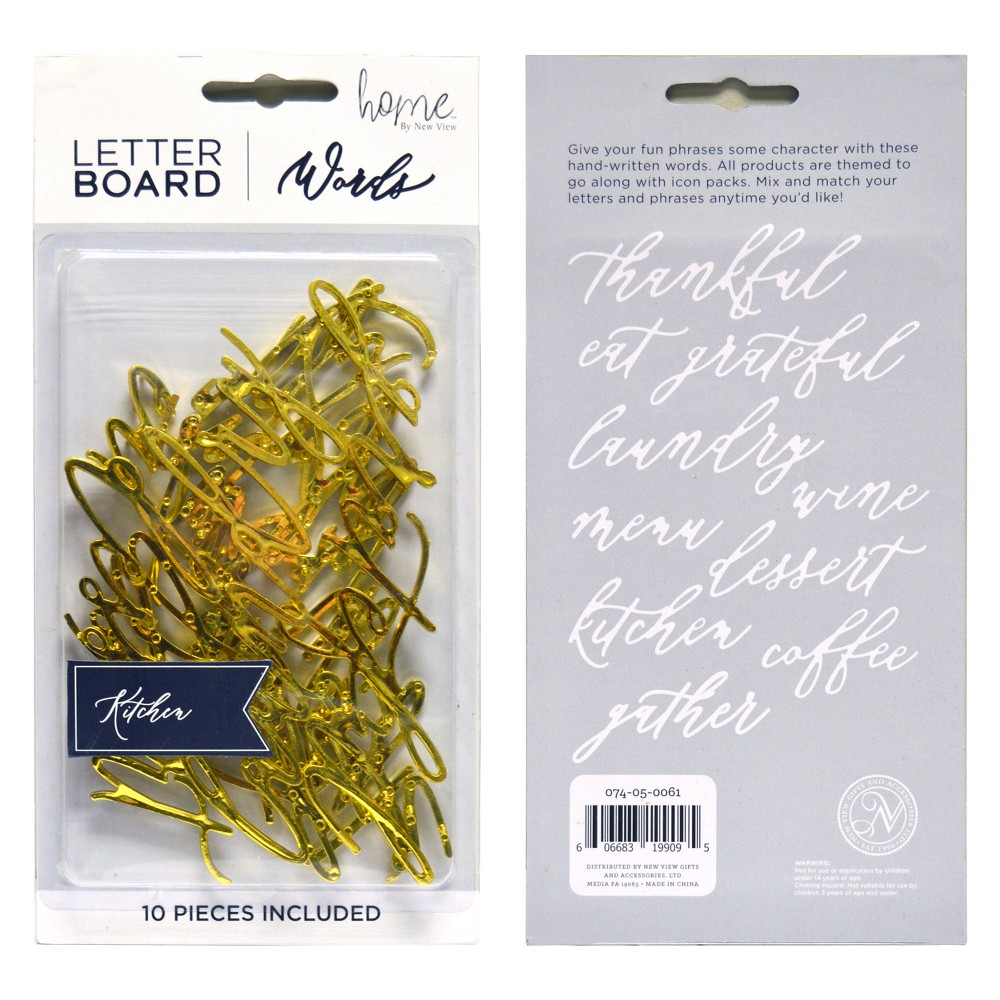 Letterboard Decorative Wall Art Set Gold Word Pack - New View