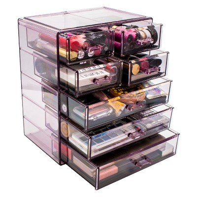 Gentil Sorbus Acrylic Cosmetic Makeup And Jewelry Storage Case Display (3 Large/4  Small Drawers)
