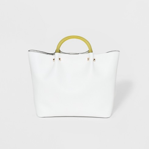 Tote Handbag With Clear Acrylic Handle - A New Day™ Cream - image 1 of 2