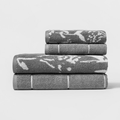 Woven Pattern Bath Towel Set Light Gray - Project 62™