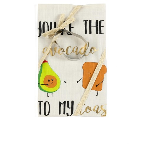 """""""You're The Avocado To My Toast"""" Tea Towel And Cookie Cutter Set - Off-White - Shiraleah - image 1 of 3"""