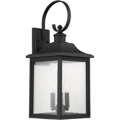 "John Timberland Outdoor Wall Light Fixture Bronze Lantern Scroll Arm 24"" Clear Seedy Glass for Exterior House Porch Patio Deck"
