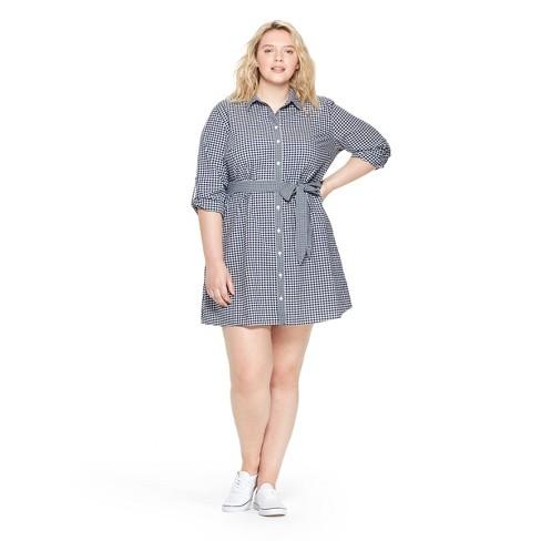 Women's Plus Size Gingham Long Sleeve Shirtdress - Navy/White 1X - vineyard vines® for Target - image 1 of 6