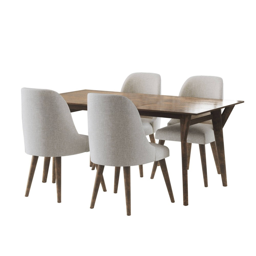 Image of 5Pc Aurora Mid Century Wooden Dining Set Brown - Abbyson Living