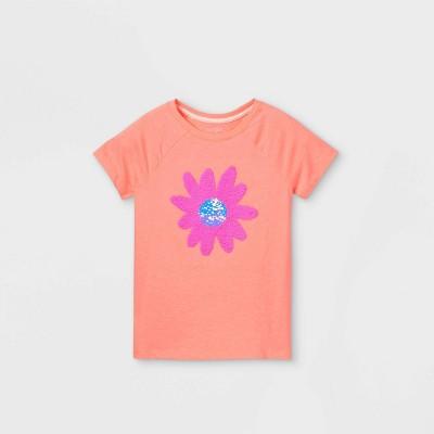 Girls' Flip Sequin Flower Short Sleeve T-Shirt - Cat & Jack™ Neon Peach