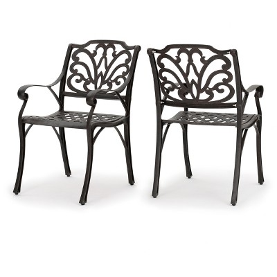 Alfresco Set of 2 Cast Aluminum Dining Chairs - Bronze - Christopher Knight Home
