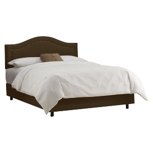 Skyline Furniture Merion Inset Nailbutton Bed - Chocolate (King) - Skyline Furniture , Brown