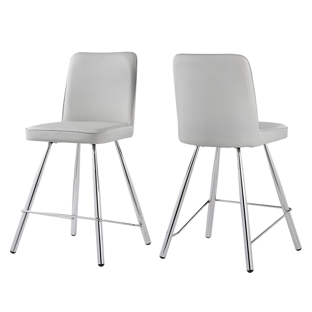 24 Set of 2 Alana Chrome Finish Counter Stool Smooth Faux Leather Gray - Inspire Q