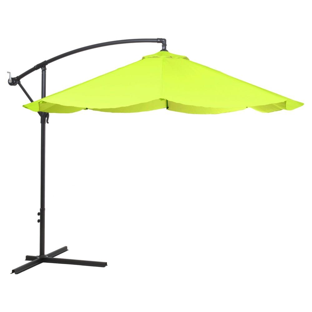 Image of Offset 10' Aluminum Hanging Patio Umbrella-Lime Green - Pure Garden