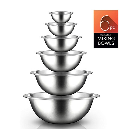 NutriChef 6 Piece Stainless Steel Home Kitchen Stackable Food Prep Serving Bowl Set for Cooking, Marinating, and Mixing - image 1 of 4