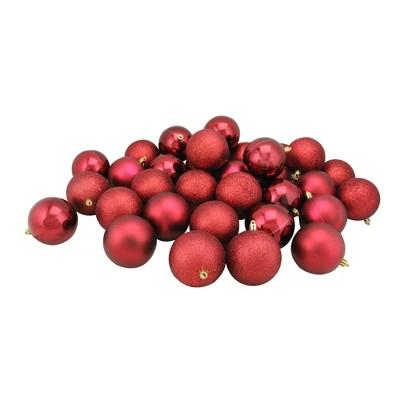 "Northlight 32ct Shatterproof 4-Finish Christmas Ball Ornament Set 3.25"" - Burgundy"
