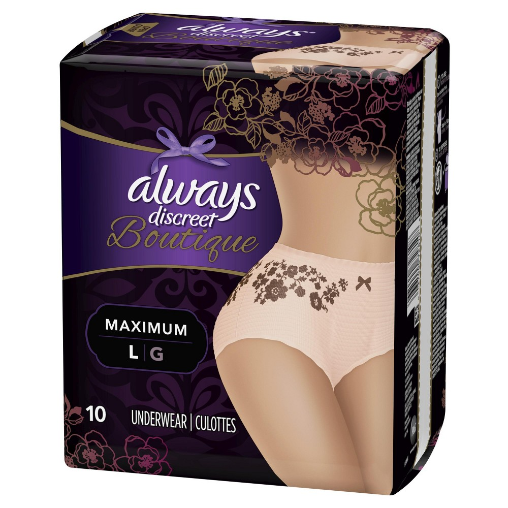 Always Discreet Boutique Incontinence Underwear for Women - Maximum Absorbency - Large - 10ct, Buff Beige Discover the secret to maximum incontinence protection, that's actually pretty, with Always Discreet Boutique Incontinence Underwear. The secret? Hidden inside is a super absorbent core that turns liquid to gel to absorb even your heaviest leaks. The curve-hugging, feminine design that defines your silhouette is made of silky-soft fabric with delicate, lacy prints, so it looks, fits, and feels like your real underwear. So you can feel protected and pretty, unlike adult diapers. It's maximum protection, you can depend on, made beautiful. Color: Buff Beige. Gender: Female.