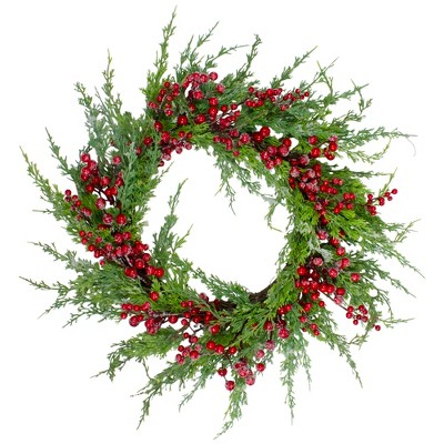 Northlight Frosted Red Berries Artificial Christmas Wreath - 26-Inch, Unlit
