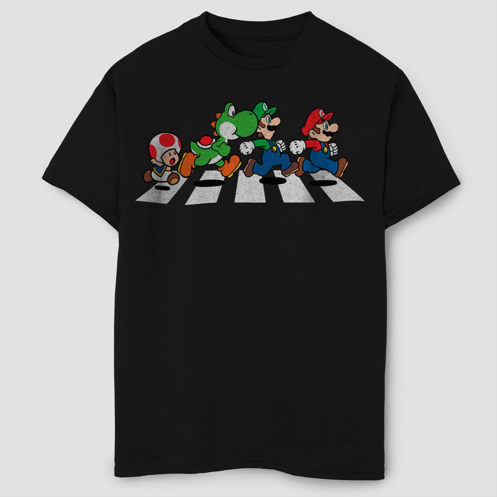 Boys' Super Mario Short Sleeve T-Shirt - Black M