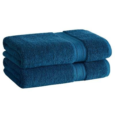 2pk Low Twist Bath Towel Set with Enhanced Microban Blue - Cannon