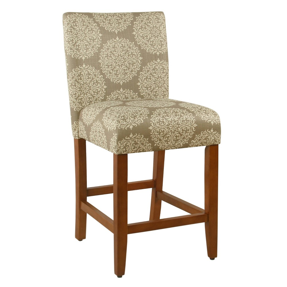 "Image of ""24"""" Braeburn Counterstool Taupe/Medallion Cream - HomePop, Brown/Medallion Ivory"""