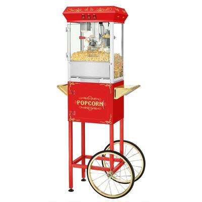 Superior Popcorn 8oz Popper Machine and Cart, Red