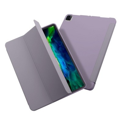 """Insten - Tablet Case for iPad Pro 12.9"""" 2020, Liquid Silicone, Frosted Back, Auto Sleep/Wake, Pencil Charging, Grey Purple"""