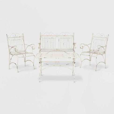 Leah 4pc Cast Iron Patio Chat Set - Antique/White - Safavieh - image 1 of 3