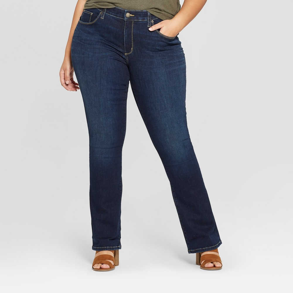 2cb2a6d53be Womens Plus Size Skinny Bootcut Jeans Universal Thread Dark Wash 14W Blue
