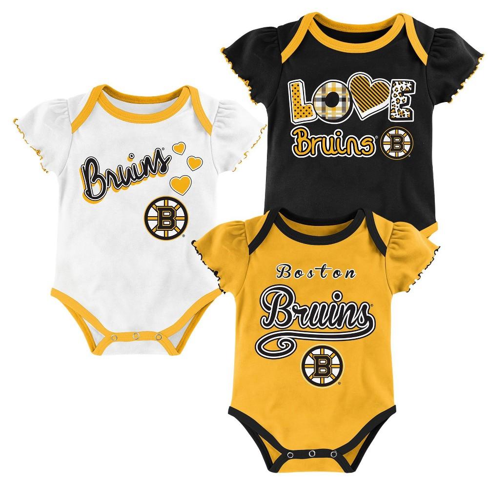 Boston Bruins Baby Girls' 3pk Bodysuit Set 0-3 M, Size: 0-3M