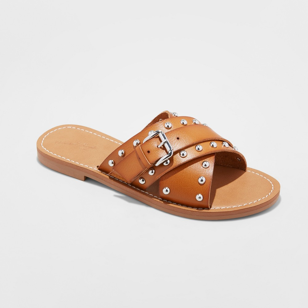 Women's Kellan Studded Crossband Slide Sandals - Universal Thread Cognac (Red) 10