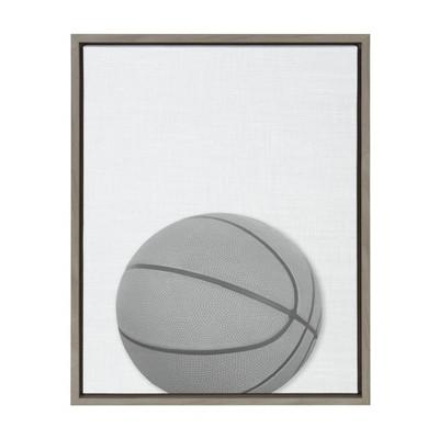 "18"" x 24"" Sylvie Basketball PortraitFramed Canvas Gray - DesignOvation"